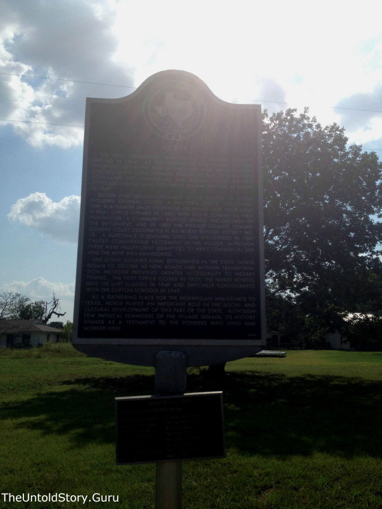 One of the historical markers for the community of Norse, Texas.